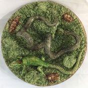 Majolica Palissy Ware Type Dish In Fine Condition