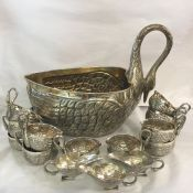 Mexican Sterling Silver Swan Punch Bowl