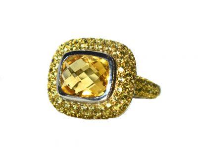 Modern Citrine and Yellow Sapphire Ring