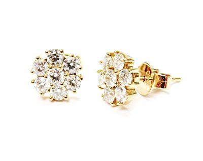Modern Diamond Cluster Earrings