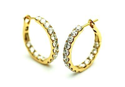 Modern Diamond Hoop Earrings