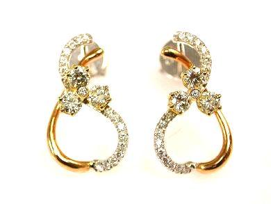 Modern Light Yellow Diamond and Diamond Earrings