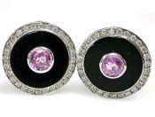 Modern Pink Sapphire Diamond Black Onyx Earrings