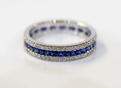 Modern Sapphire and Diamond Eternity Band