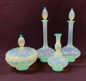 Opalescent Glass Four Piece Vanity Set, Italian, Early 20th Century