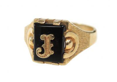 Retro Onyx Initial J Ring
