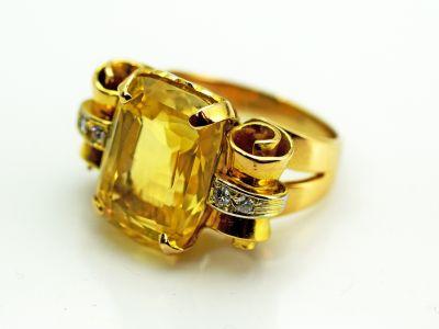 Retro Yellow Sapphire and Diamond Ring
