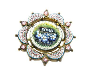 Micro Mosaic Brooch Pin Floral Roma