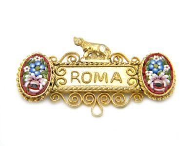 Micro Mosaic Brooch Roma