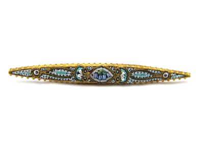 Micro Mosaic Brooch long pin Gold-Plated Roma