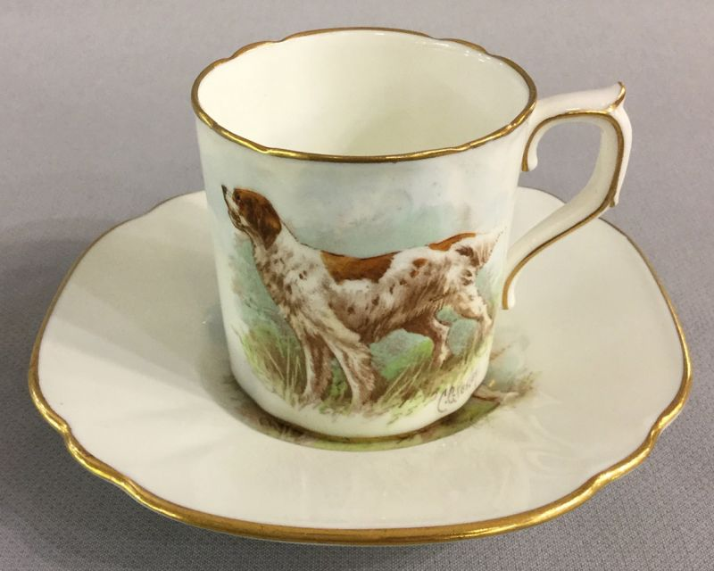 Royal Crown Derby Irish Red and White Setter Coffee Can