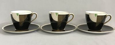 "Royal Doulton Art Deco ""Tango"" Demitasse Cups & Saucers"
