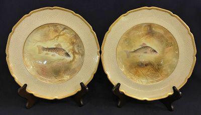 Royal Doulton Bone China Fish Plates, For Tiffany & Co.