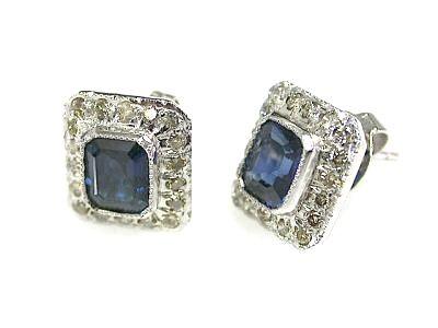 Vintage Sapphire and Diamond Stud Earrings