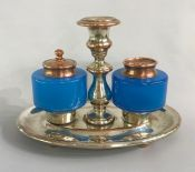 Sheffield Plate With Opaline Glass Inkwell, Stand & Pounce Pot