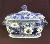 Staffordshire Blue & White Transfer Ware Botanical Pattern 2 Piece Soup Tureen