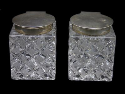 Sterling and Crystal Inkwells