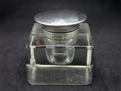 Sterling and Glass Inkwell