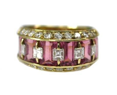 Modern Tourmaline and Daimond Ring