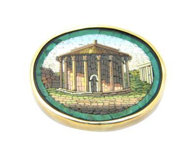 Micro Mosaic Brooch Vesta Temple
