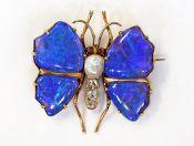 Victorian Black Opal Pearl Garnet Diamond Butterfly Brooch