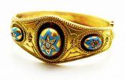 Victorian Diamond Ruby Enamel Bracelet
