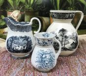 Victorian Blue and White Pitchers