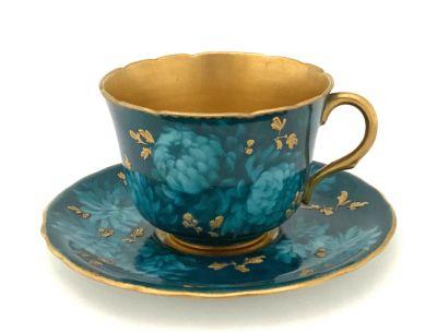 Victorian Doulton Burslem Bone China Demitasse Cup and Saucer
