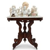 Victorian Eastlake Parlour Table & Neo-Classical To Art Deco Busts