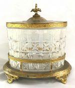 Victorian Gilt Metal & Crystal Biscuit Barrel