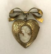 Victorian Gold Filled Double Picture Heart Shape Locket
