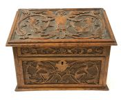 Victorian Hand Carved Stationery Box, American, Circa 1890-1900