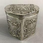 Dutch Victorian Era Heart Shape Sterling Silver Tea Caddy
