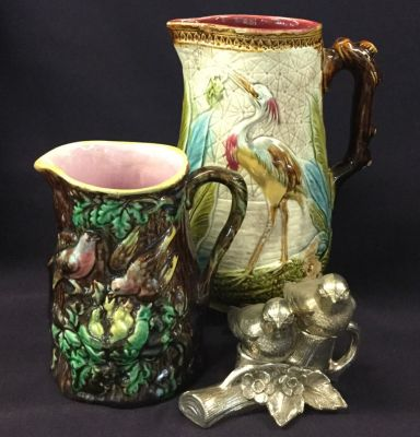 Victorian Majolica Jugs with Figural Bird Salt and Pepper Shakers