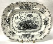 Victorian Mulberry Black transfer Ware Platter In The Fruit Basket Pattern, English, Circa 1840-50