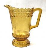 Victorian Pressed Glass Water Pitcher, Wildflower Pattern Circa 1890s