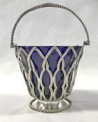 Victorian Silver Plate And Cobalt Blue Glass Lined Sweetmeats Basket