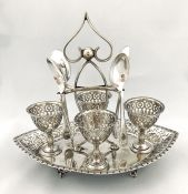 Victorian Silver Plate Egg Stand with Egg Cups and Spoons