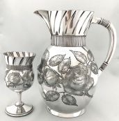 Victorian Silver Plate Water Pitcher and Matched Goblet