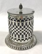 Victorian Sterling Silver And Cobalt Blue Glass Lined Jam Pot
