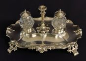 Victorian Sterling Silver Double Inkwell
