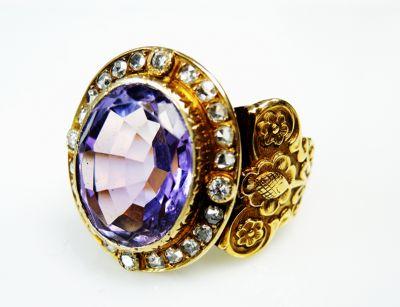 Vintage Amethyst and Diamond Ring