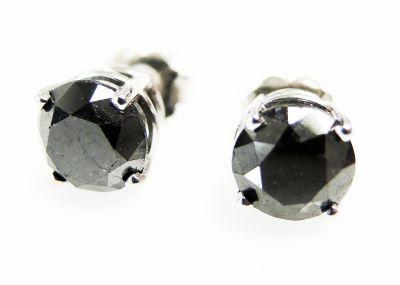 Vintage Black Diamond Stud Earrings