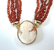 Vintage Cameo and Carnelian Necklace