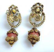 Vintage Citrine and Coral Drop Earrings