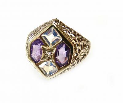 Vintage Diamond Amethyst Moonstone Ring