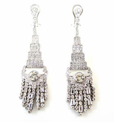 Vintage Diamond Chandelier Drop Earrings