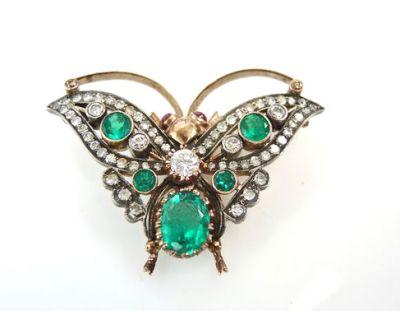 Vintage Emerald Ruby Diamond Butterfly Brooch