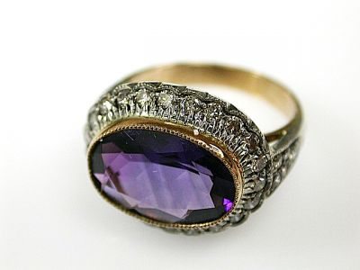 Vintage Inspired Amethyst and Diamond Ring