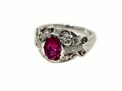 Vintage Inspired Pink Tourmaline and Diamond Ring